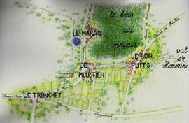 Essai de reconstitution du village médiéval, d'après le censier de 1406 Dessin de Jean-Marie Spitz